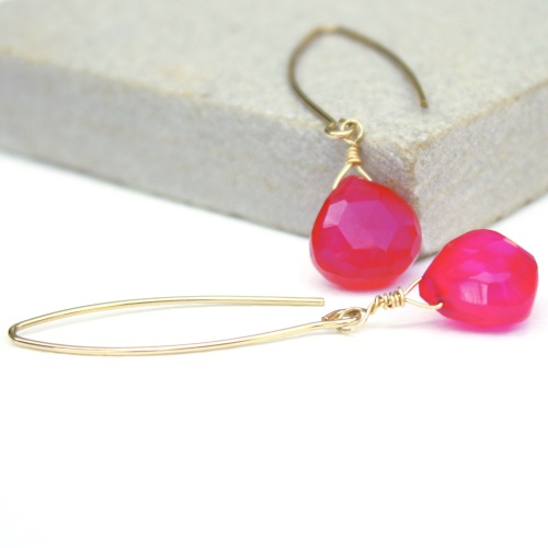 Hot pink chalcedony earrings