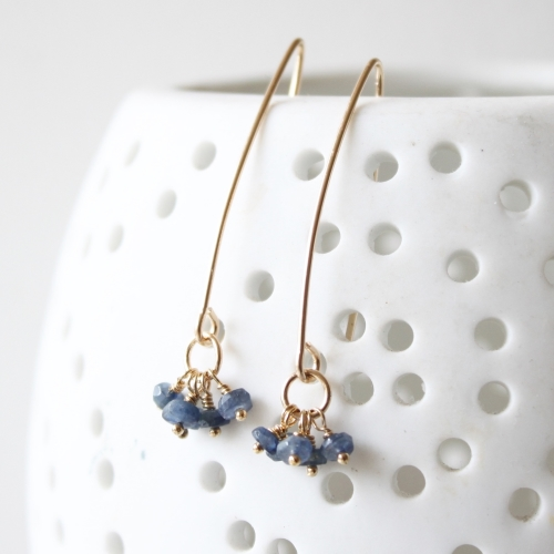 <!-- 1 -->Sapphire and gold fill earrings