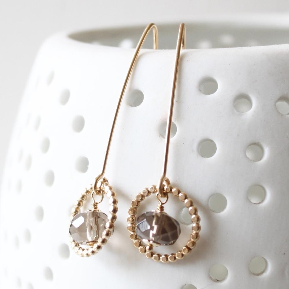 <!-- 11 -->Long Amelia earrings with Smokey Quartz