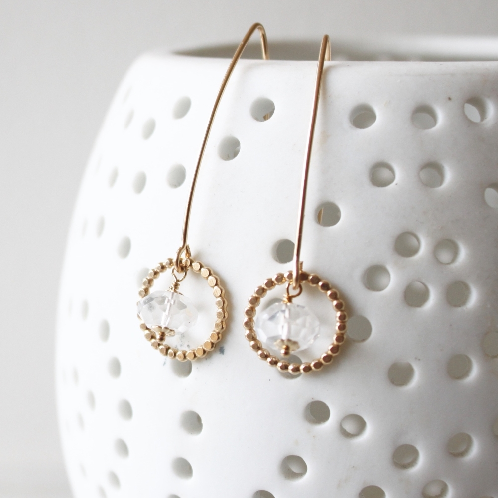 <!-- 11 -->Long Amelia earrings with Quartz