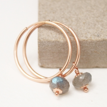 Small Ava Labradorite hoops