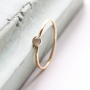 Aquamarine gold stacking ring