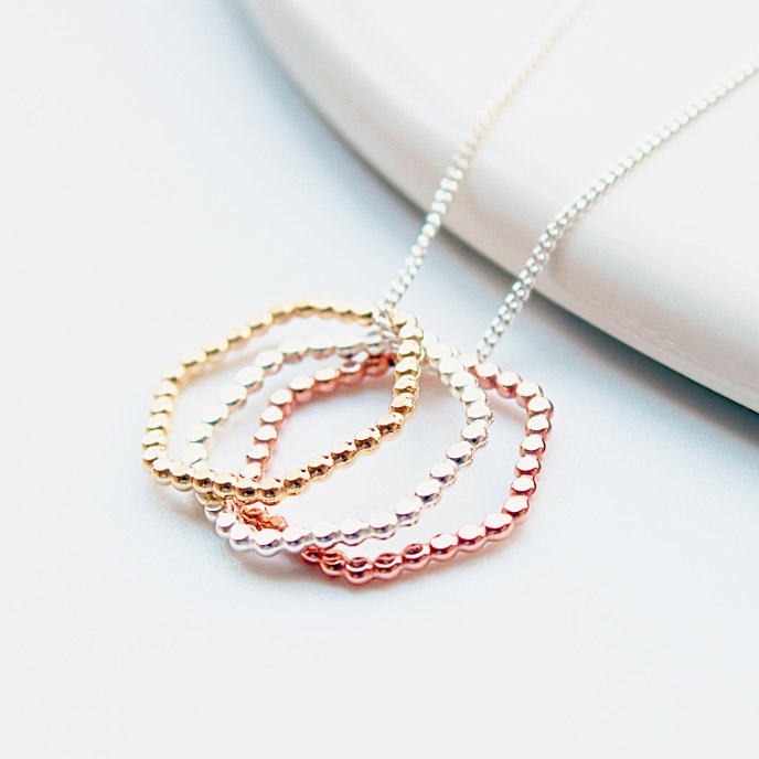 Hexagon trio necklace