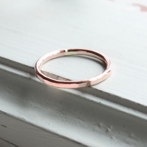 <!-- 016 -->Rose gold fill  hammered stacking ring