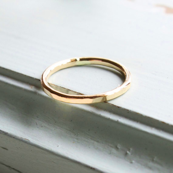 <!-- 014 -->Yellow gold fill hammered stacking ring