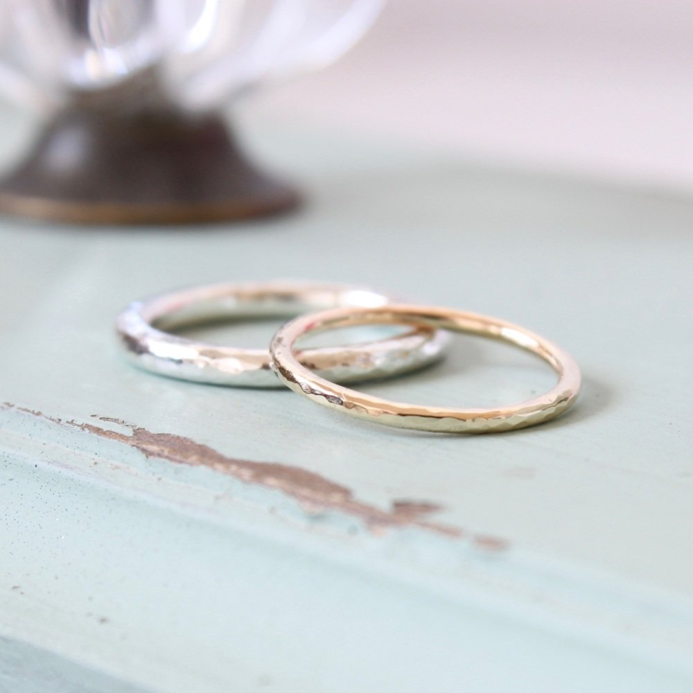 Hammered halo rings
