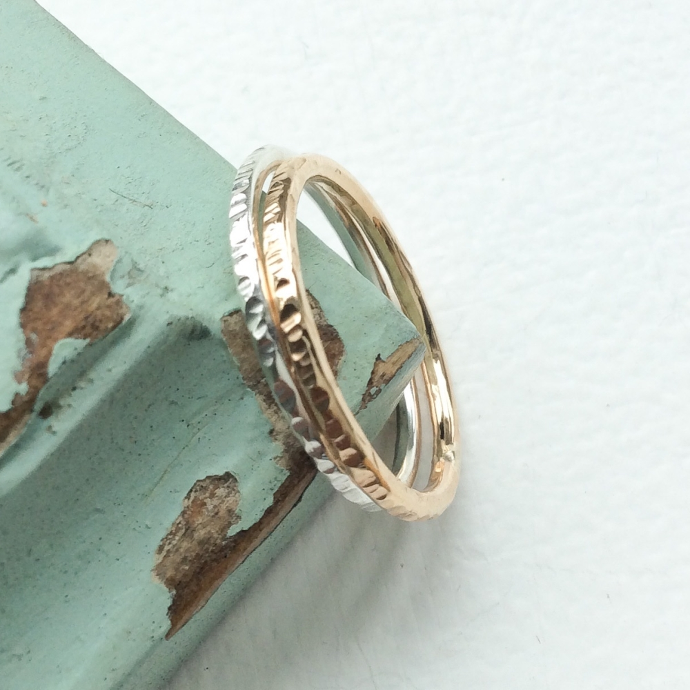 <!-- 013 -->Sterling silver and gold fill hammered ring set