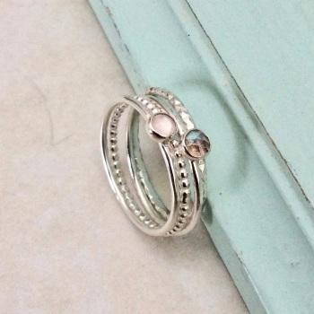 Labradorite and Rose quartz stacking ring set