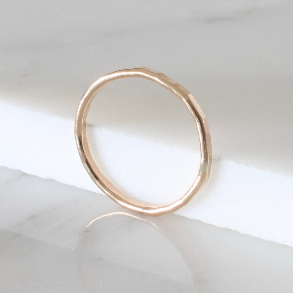 <!--04-->Yellow gold fill hammered stacking ring