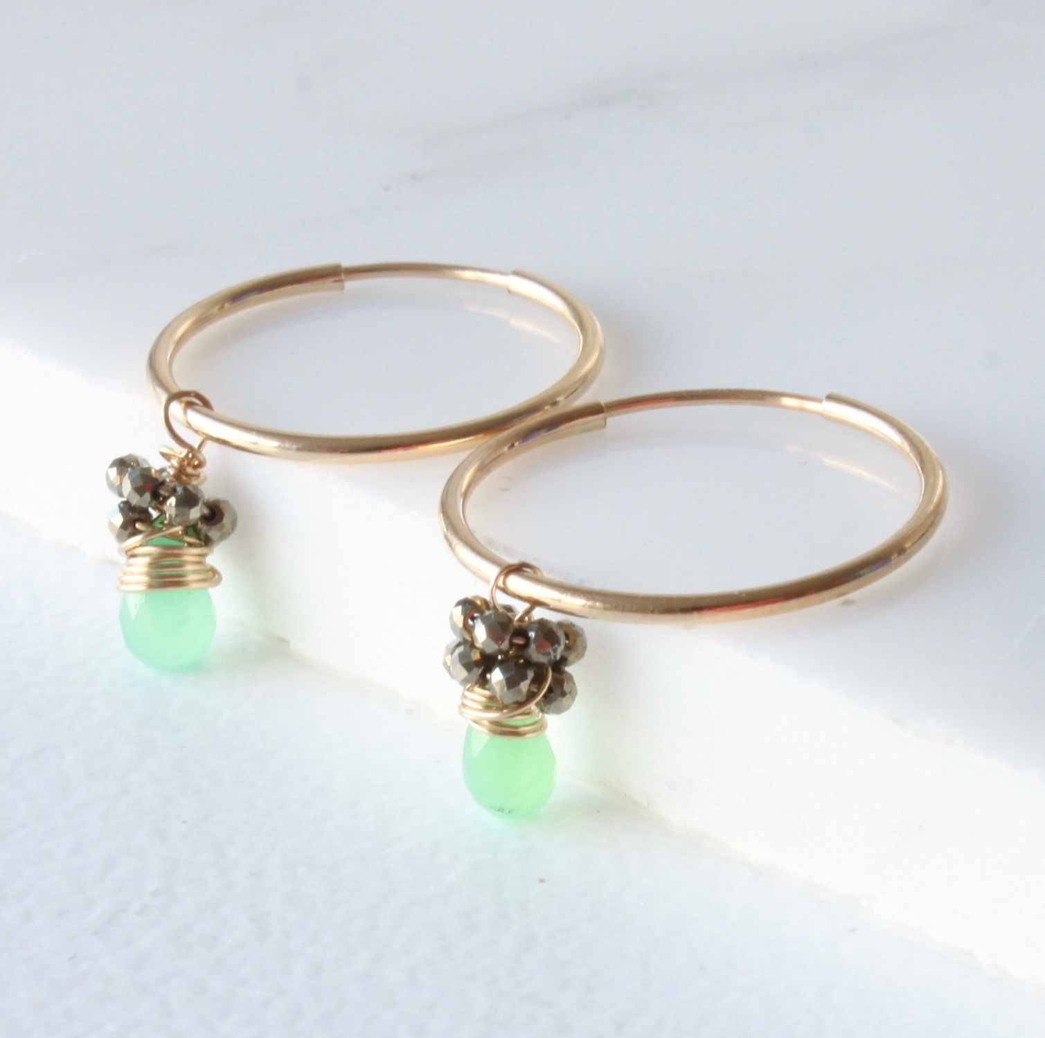 Chrysoprase Cluster hoops