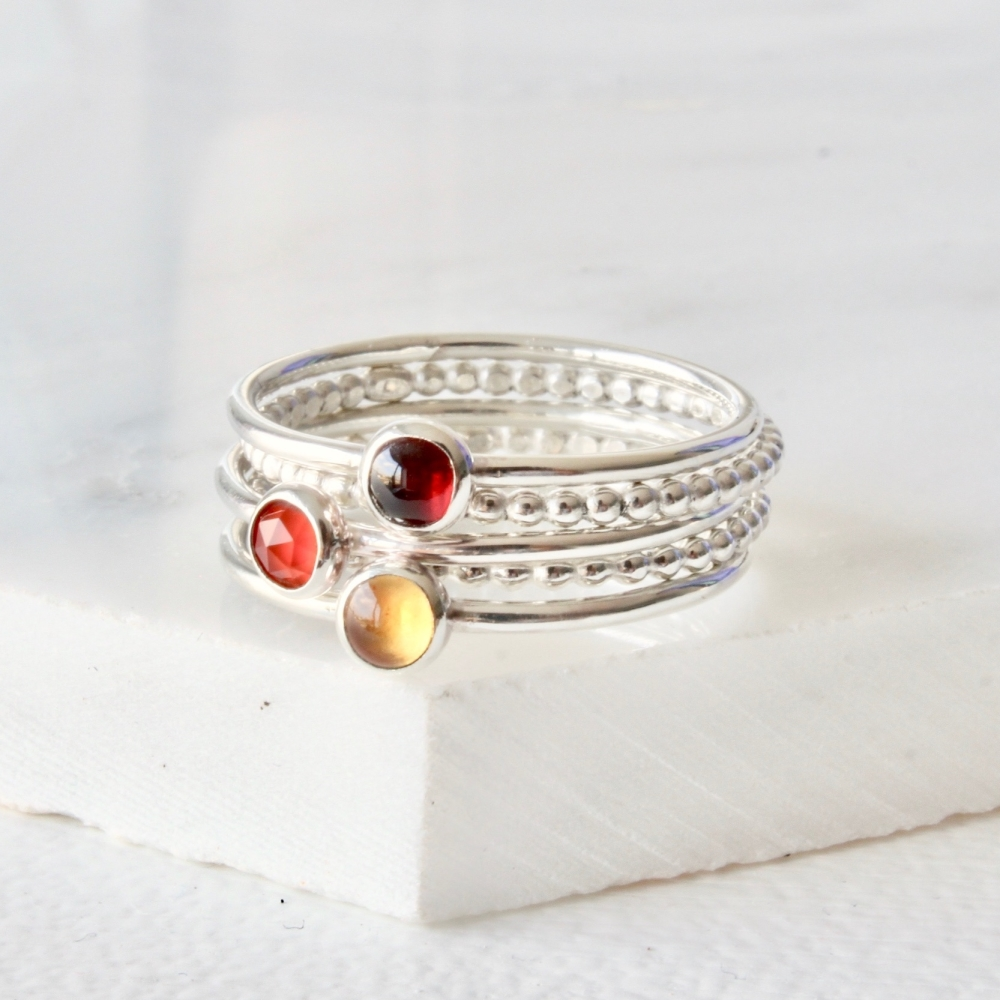 <!-- 2 -->Garnet Citrine and Carnelian stacking ring set