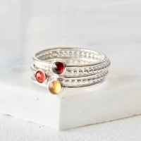 <!-- 2 -->Garnet, Citrine and Carnelian Stacking Ring Set