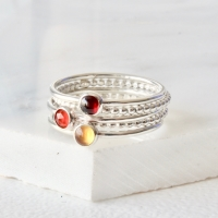 <!-- 2 -->Garnet Citrine and Carnelian stacking ring set