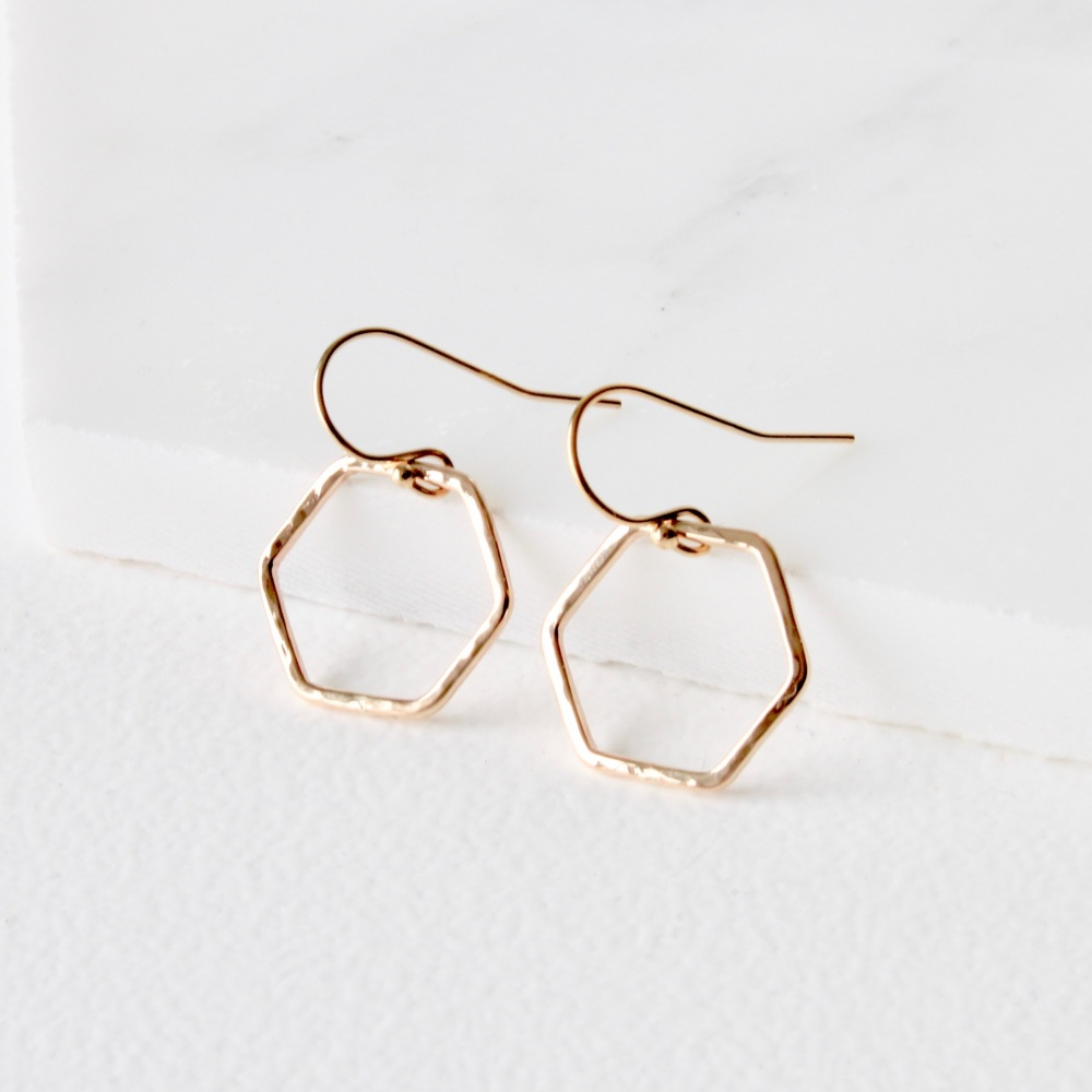 <!-- 05 -->'Simples' hexagon ring earrings