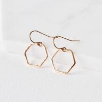 <!-- 05 -->'Simples' hexagon ring earrings