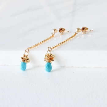 Long drop chain earrings