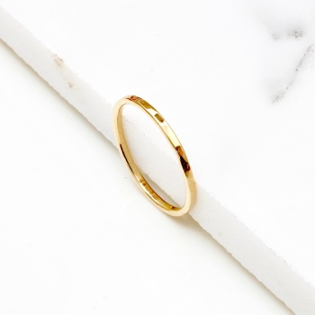 Solid Gold Hammered Stacking Ring