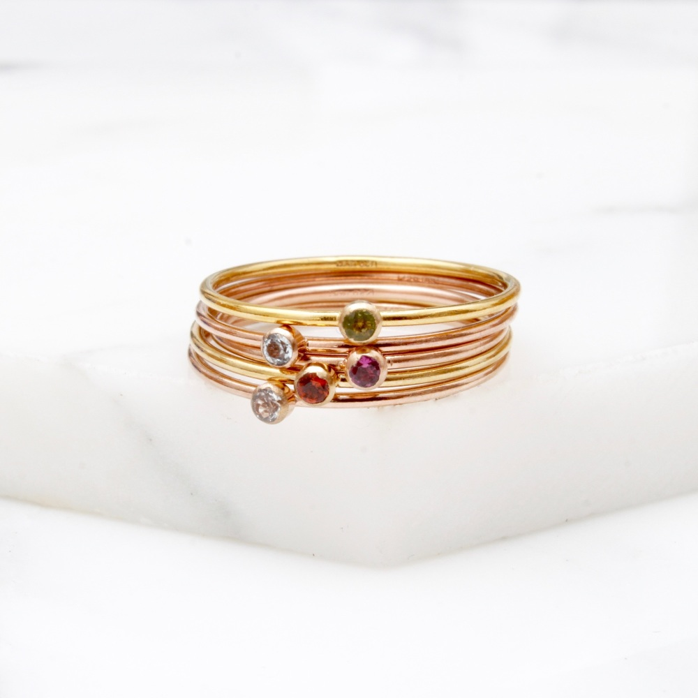 Skinny gemstone ring