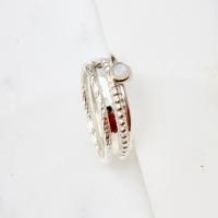<!--006--> Moonstone Silver Stacking Ring Set