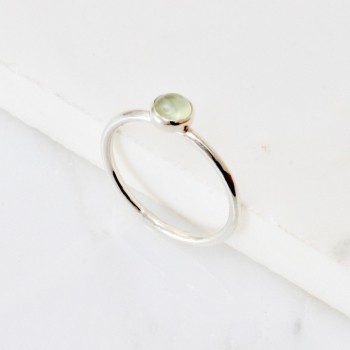 Prehnite silver stacking ring