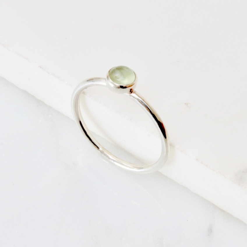 <!-- 2 -->Prehnite silver stacking ring