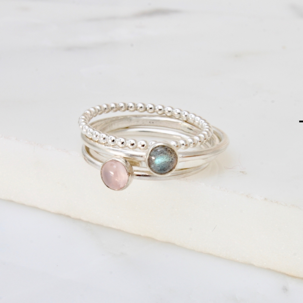 <!-- 1 -->Labradorite and Rose quartz stacking ring set