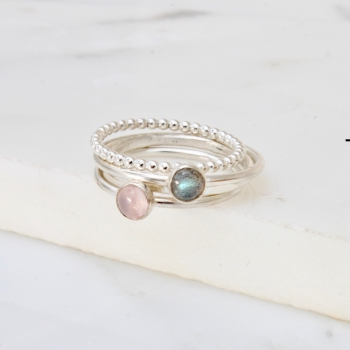 Labradorite and Rose quartz Stacking Ring Set