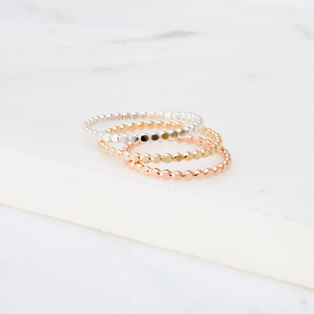 <!--4-->Flat Beaded stacking ring