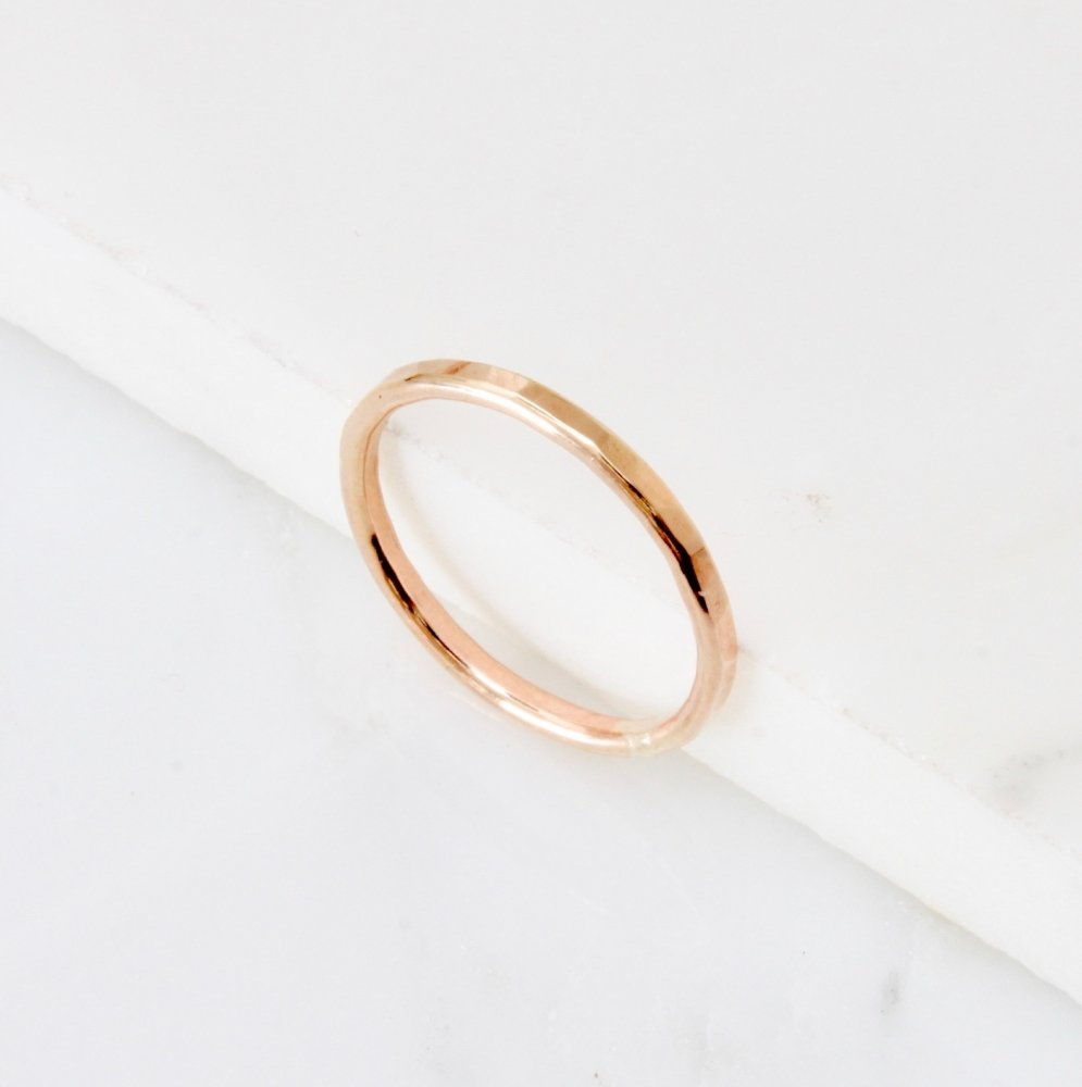 <!--6-->Yellow gold fill hammered stacking ring