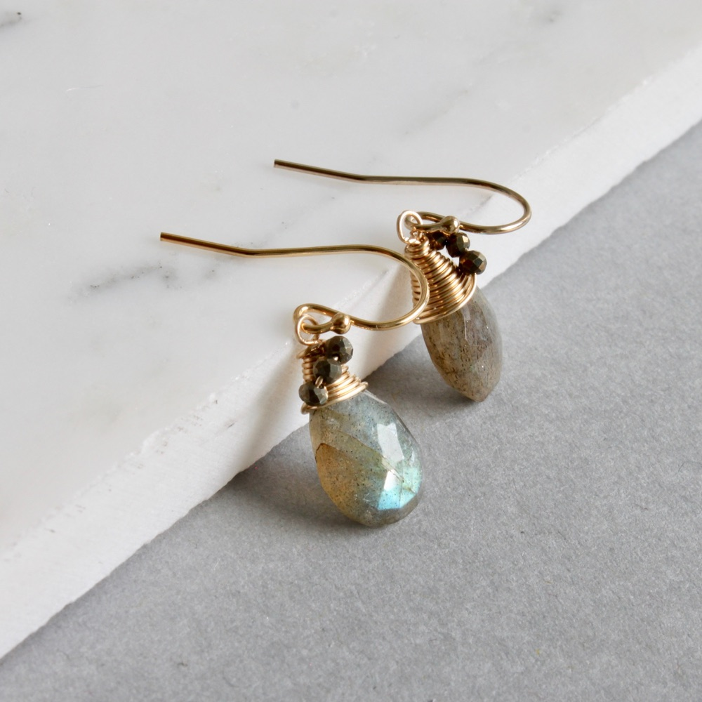 Gemstones and Pearl earrings