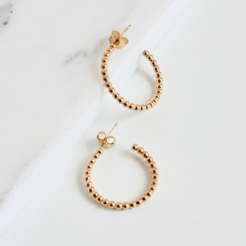 Mini Beaded ball hoop earrings