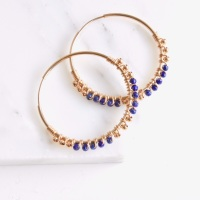 <!--012--> Wrapped Lapis Hoops