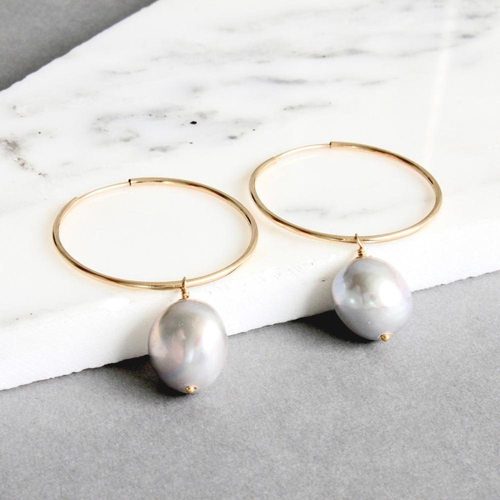 <!-- 001 -->Large Pearl hoops