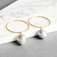 <!-- 001 -->Large Pearl hoops