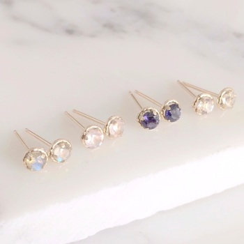 9ct gold tiny gemstone studs