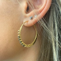 <!-- 01 -->Large Pyrite Wrapped Hoops