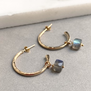 Gemstone Tapered Hoops