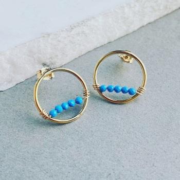 STurquoise wrap Stud Earrings