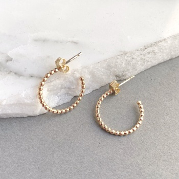 Petite Beaded Ball Hoop Earrings