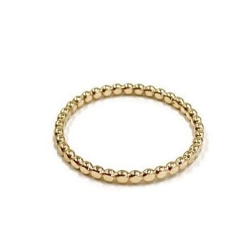 Solid 9ct Gold Beaded Stacking Ring