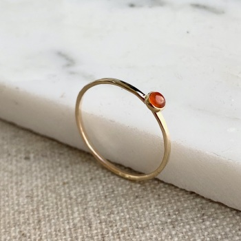 9ct Gold Carnelian Stacking Gemstone Ring