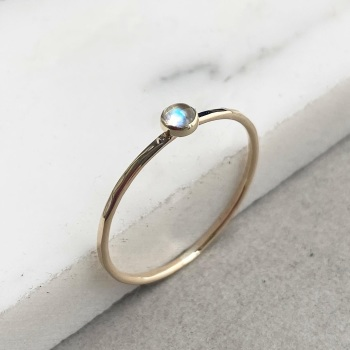 9ct Gold Labradorite Stacking Gemstone Ring