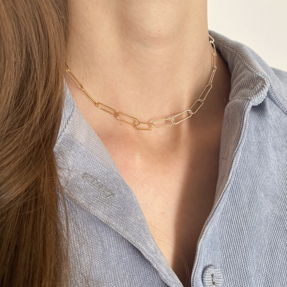 <!--000001-->Two Tone Chain Necklace