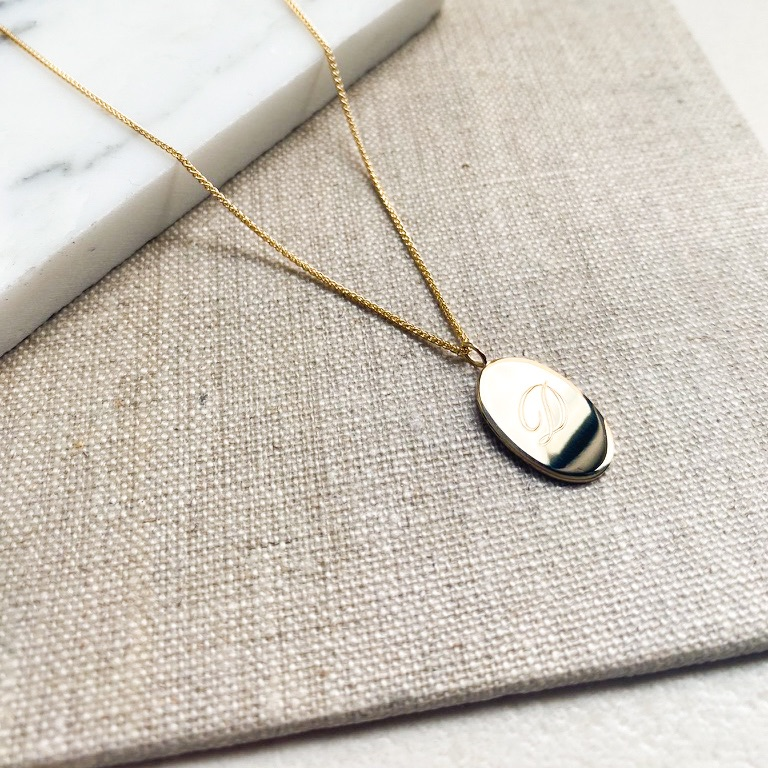 Engraved oval tag necklace