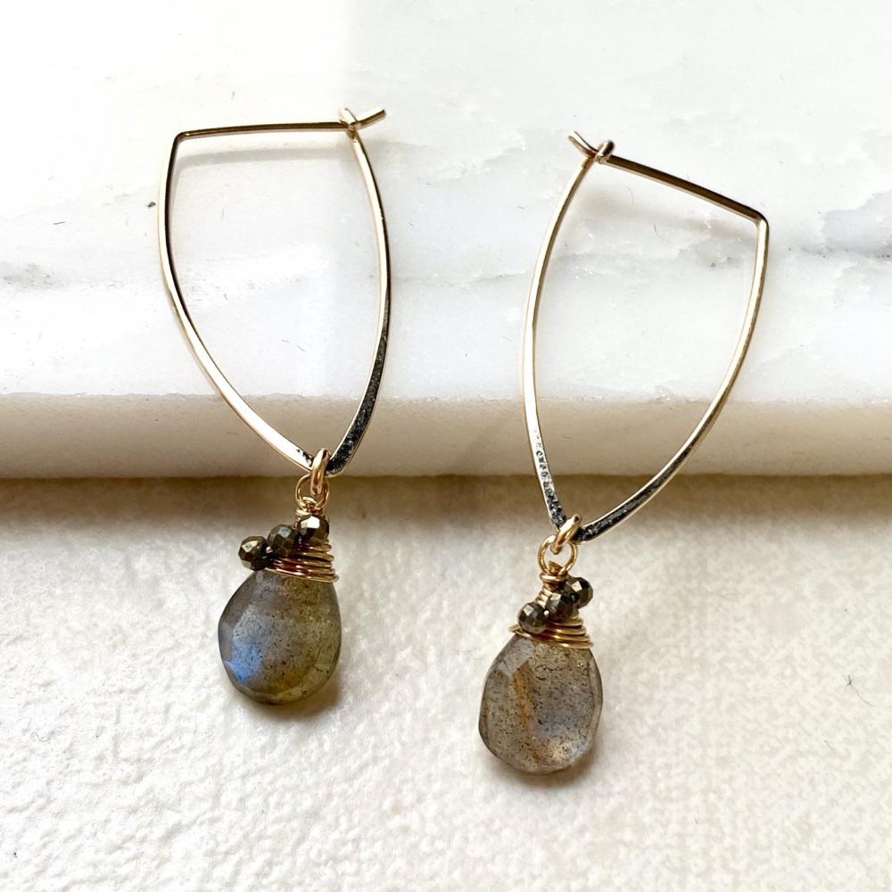 Labradorite marquise hoop earrings