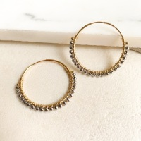 <!-- 01 -->Hematite Wrapped Hoops