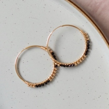 Wrapped Black Spinel Hoops