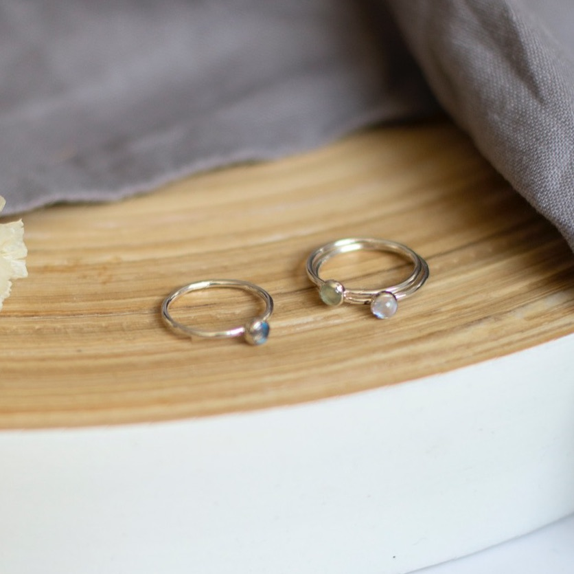 Semi precious thin silver ring