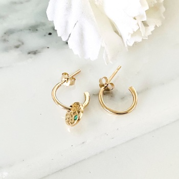Small 9ct gold hoops with Emerald disc charm