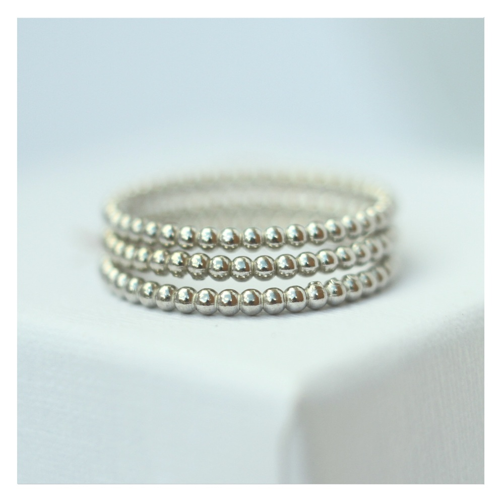 Thin Beaded Stacking Rings